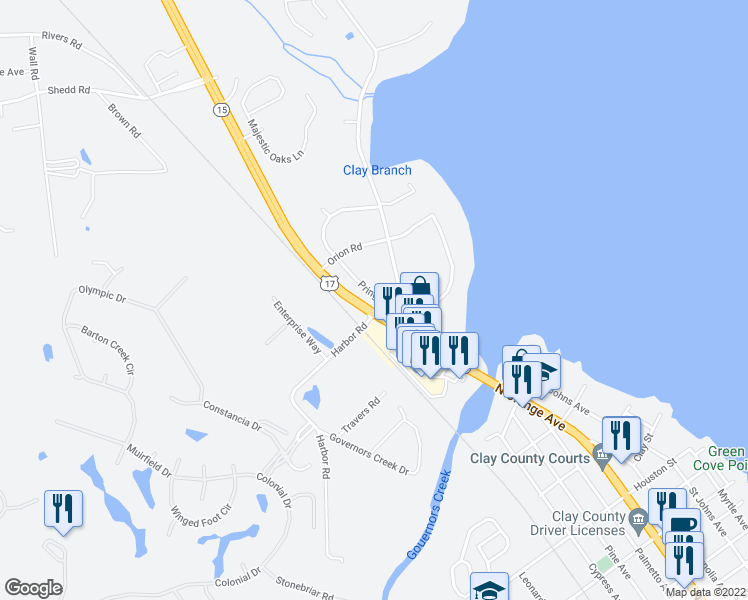 map of restaurants, bars, coffee shops, grocery stores, and more near 1408 North Orange Avenue in Green Cove Springs