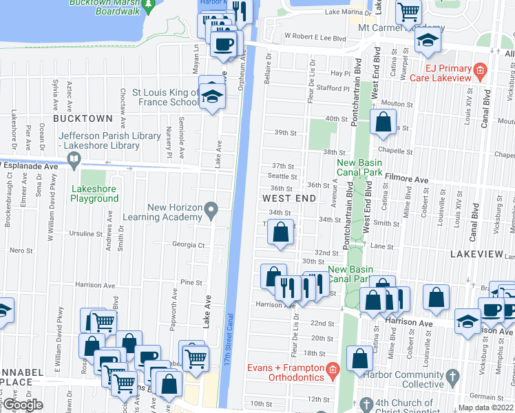 map of restaurants, bars, coffee shops, grocery stores, and more near 6539 Bellaire Drive in New Orleans