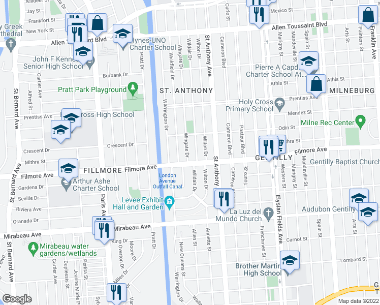 map of restaurants, bars, coffee shops, grocery stores, and more near 5309 Wingate Dr in New Orleans
