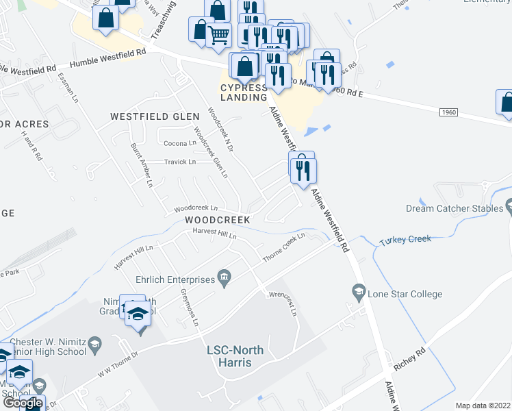 map of restaurants, bars, coffee shops, grocery stores, and more near 3023 Woodcreek Lane in Houston