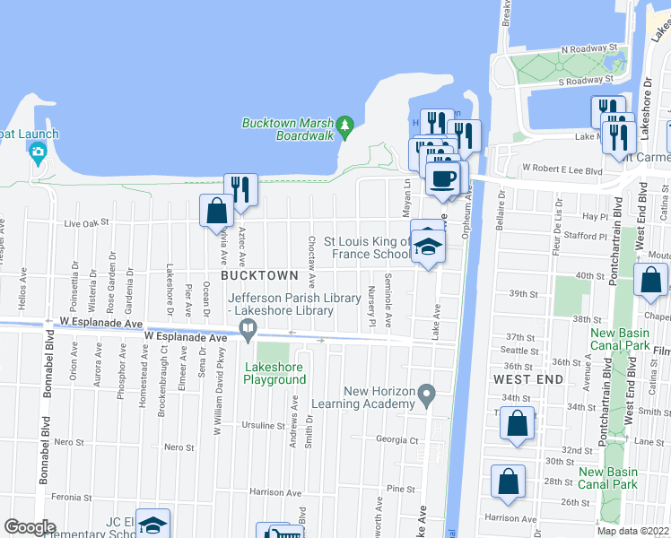 map of restaurants, bars, coffee shops, grocery stores, and more near Huron Avenue in Metairie