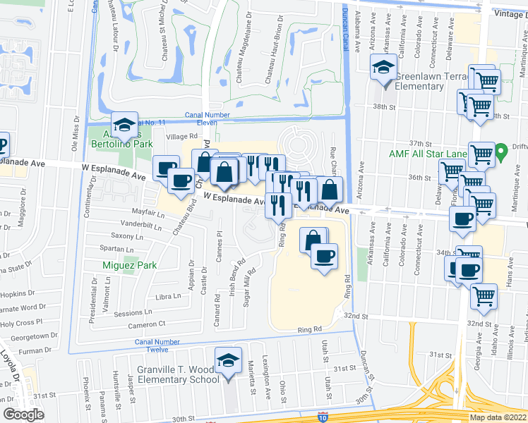 map of restaurants, bars, coffee shops, grocery stores, and more near 1201 West Esplanade Avenue in Kenner