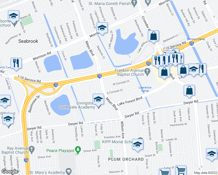 map of restaurants, bars, coffee shops, grocery stores, and more near 6800 West Coronet Court in New Orleans