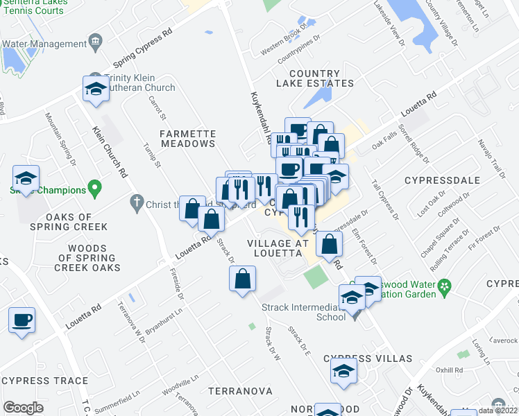 map of restaurants, bars, coffee shops, grocery stores, and more near 4959-5007 Louetta Road in Spring