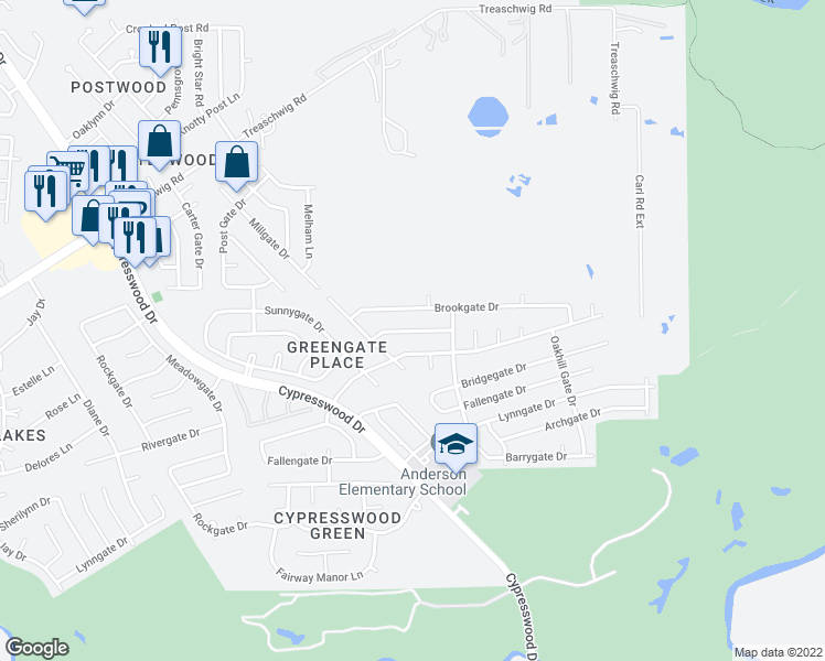map of restaurants, bars, coffee shops, grocery stores, and more near 6302 Brookgate Drive in Spring