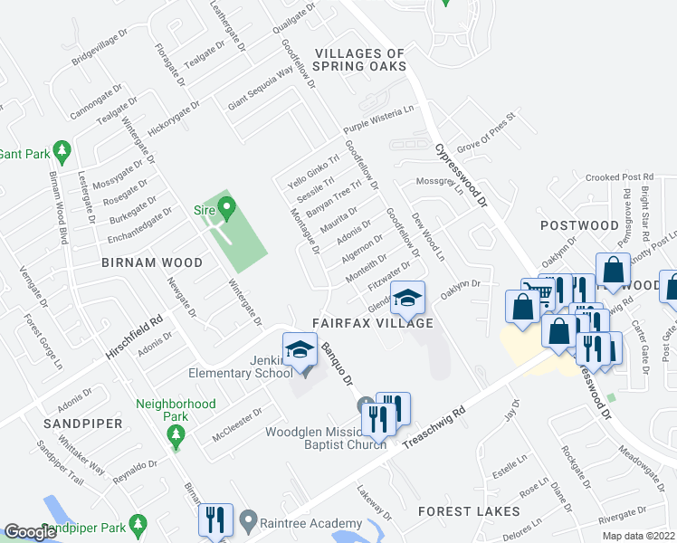 map of restaurants, bars, coffee shops, grocery stores, and more near 4806 Algernon Drive in Spring