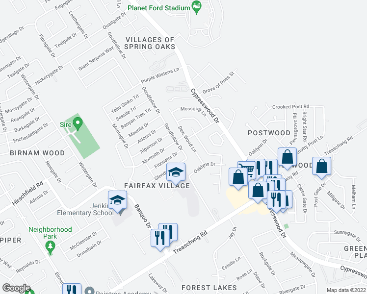 map of restaurants, bars, coffee shops, grocery stores, and more near 23202 Goodfellow Drive in Spring