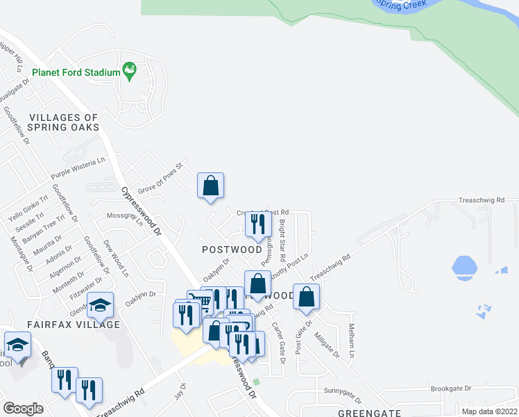 map of restaurants, bars, coffee shops, grocery stores, and more near 5935 Crooked Post Road in Spring