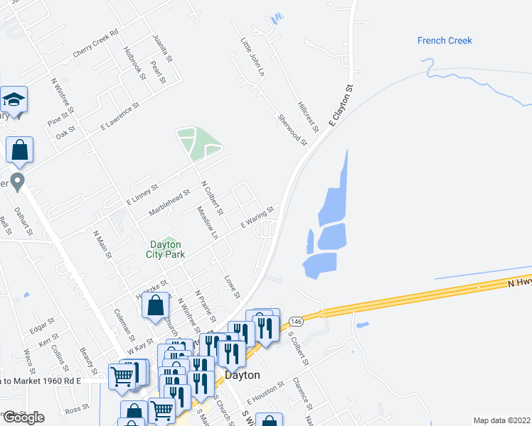 map of restaurants, bars, coffee shops, grocery stores, and more near 704 East Waring Street in Dayton