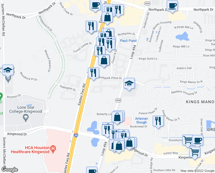 map of restaurants, bars, coffee shops, grocery stores, and more near 150 Northpark Plaza Drive in Houston