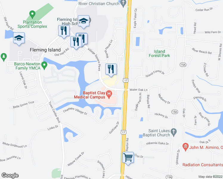 map of restaurants, bars, coffee shops, grocery stores, and more near 1747-1771 Baptist Clay Drive in Fleming Island