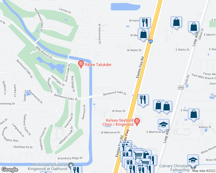 map of restaurants, bars, coffee shops, grocery stores, and more near 21349 Thurston Crossing Drive in Porter