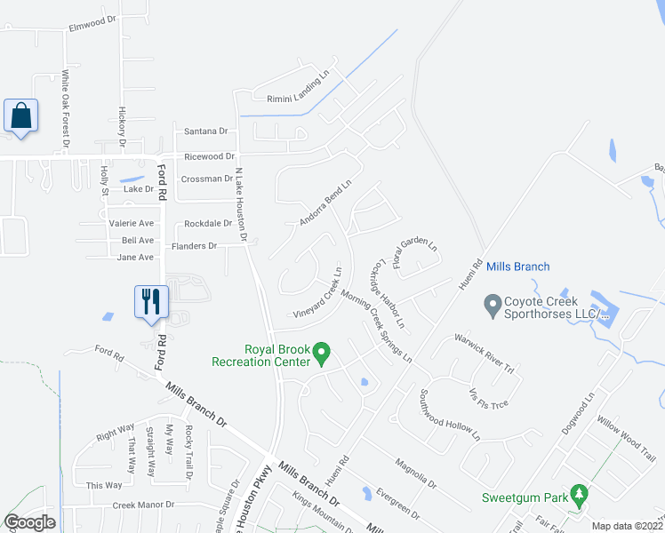 map of restaurants, bars, coffee shops, grocery stores, and more near 6015 Vineyard Creek Lane in Porter