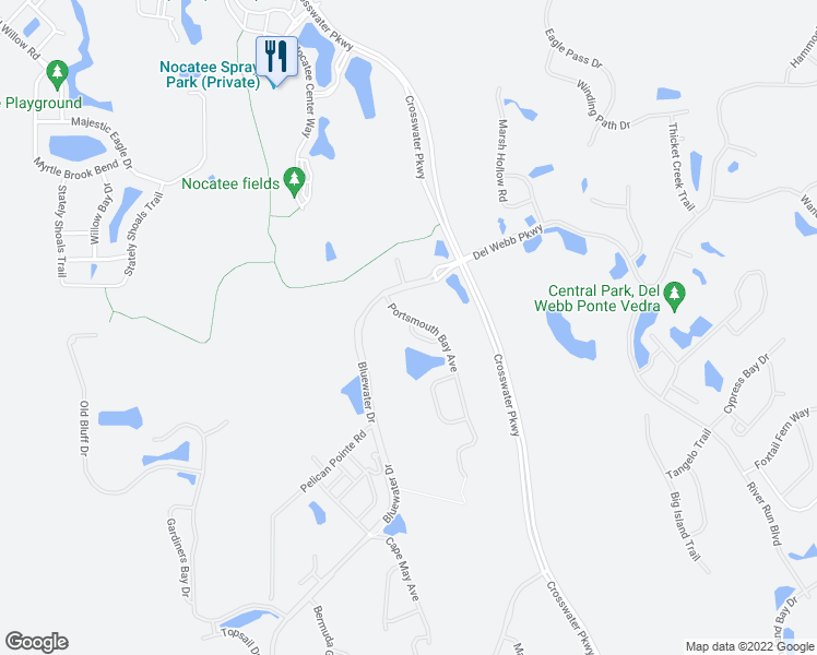 map of restaurants, bars, coffee shops, grocery stores, and more near 18 Lighthouse Point Circle in Ponte Vedra
