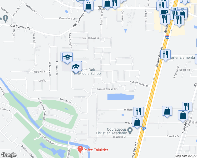 map of restaurants, bars, coffee shops, grocery stores, and more near 21319 Avett Drive in Porter