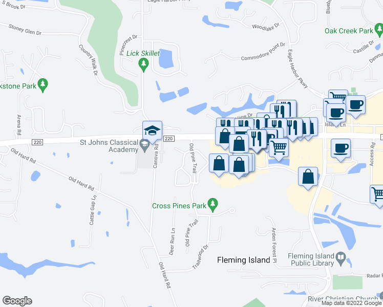 map of restaurants, bars, coffee shops, grocery stores, and more near 1717 County Road 220 in Fleming Island