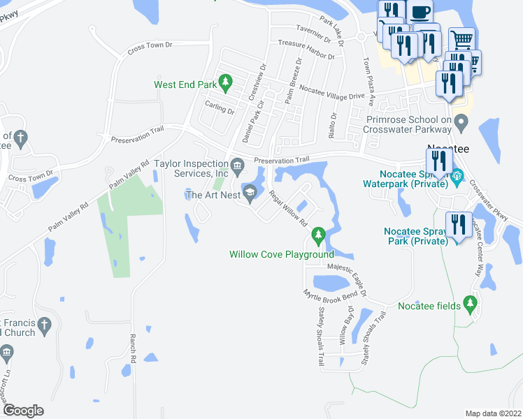 map of restaurants, bars, coffee shops, grocery stores, and more near 79 Willow Park Way in Ponte Vedra Beach