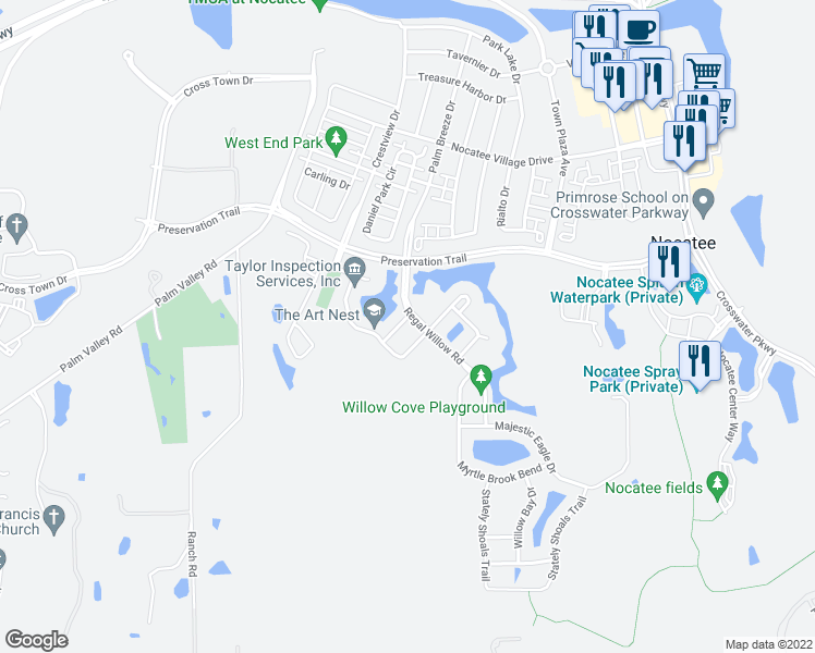 map of restaurants, bars, coffee shops, grocery stores, and more near 29 Willow Park Way in Ponte Vedra Beach
