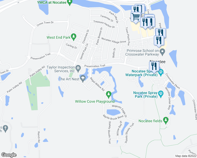 map of restaurants, bars, coffee shops, grocery stores, and more near 45 Grand Myrtle Drive in Ponte Vedra