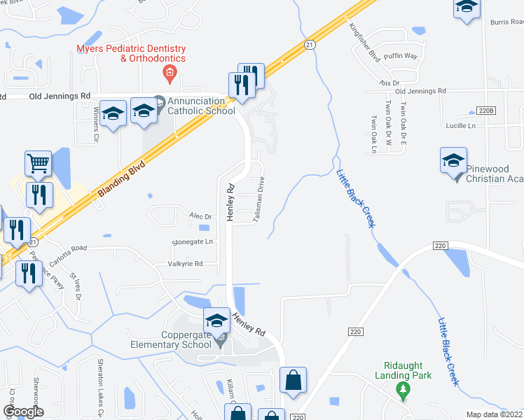 map of restaurants, bars, coffee shops, grocery stores, and more near 3264 Talisman Drive in Middleburg