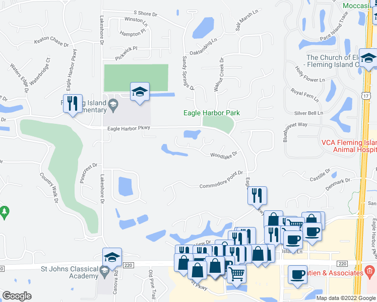 map of restaurants, bars, coffee shops, grocery stores, and more near 1979 Woodlake Drive in Orange Park
