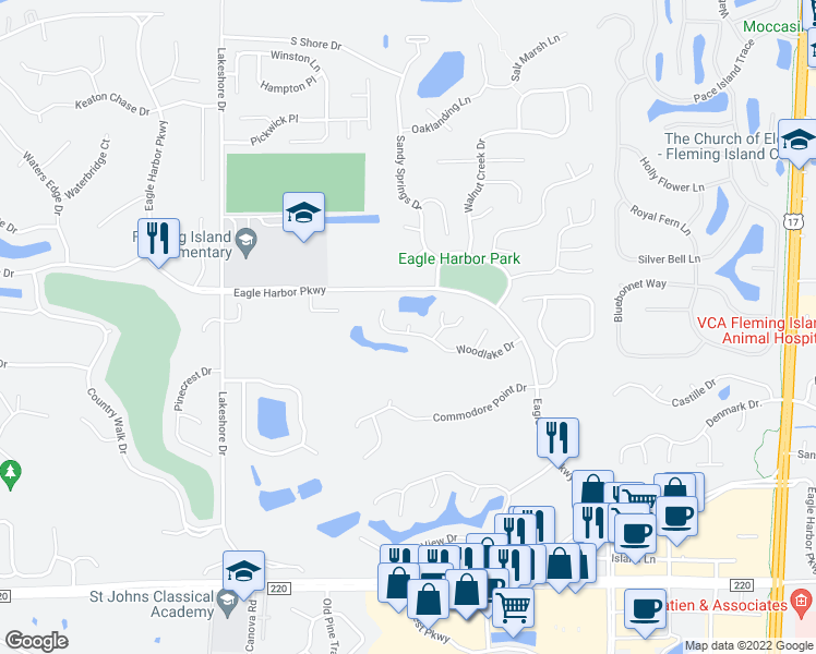 map of restaurants, bars, coffee shops, grocery stores, and more near 1738 Walton Lake Court in Fleming Island