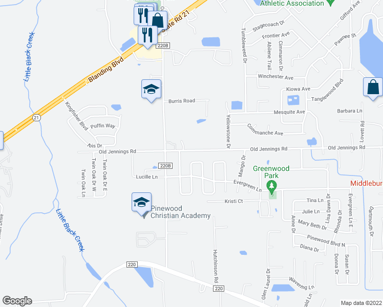 map of restaurants, bars, coffee shops, grocery stores, and more near 333 Old Jennings Road in Orange Park