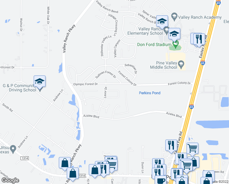map of restaurants, bars, coffee shops, grocery stores, and more near 21230 Flowering Dogwood Circle in Porter