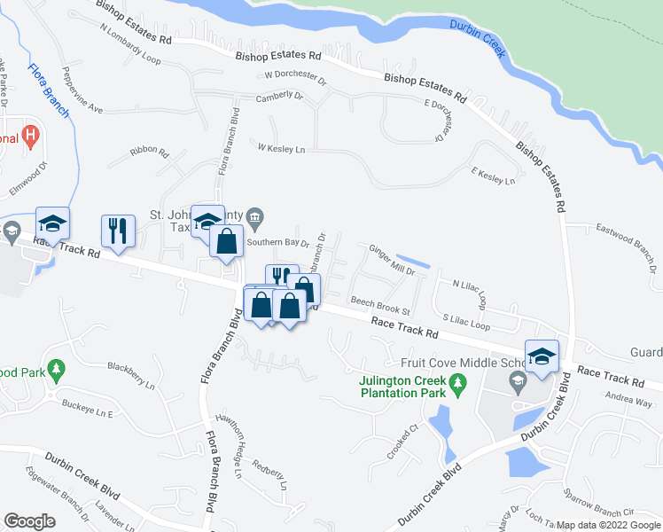 map of restaurants, bars, coffee shops, grocery stores, and more near Southern Creek Drive in Jacksonville