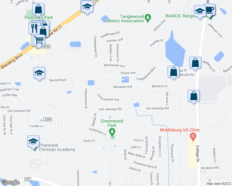 map of restaurants, bars, coffee shops, grocery stores, and more near 2774 Kiowa Avenue in Orange Park
