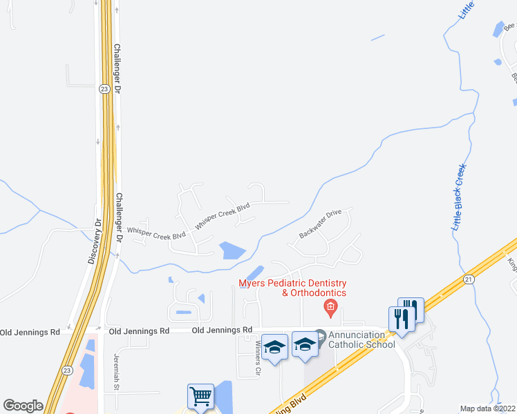 map of restaurants, bars, coffee shops, grocery stores, and more near 3533 Whisper Creek Boulevard in Middleburg