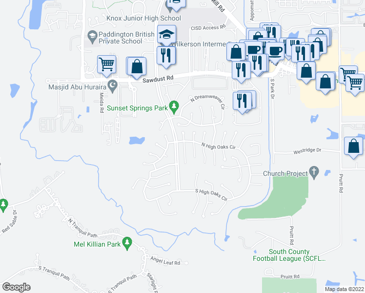 map of restaurants, bars, coffee shops, grocery stores, and more near 11 South White Pebble Court in Spring
