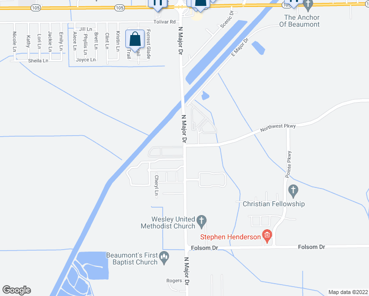 map of restaurants, bars, coffee shops, grocery stores, and more near 4550 North Major Drive in Beaumont