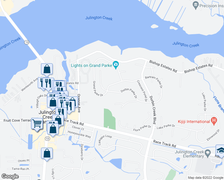 map of restaurants, bars, coffee shops, grocery stores, and more near 1070-1074 Durbin Parke Drive in Fruit Cove