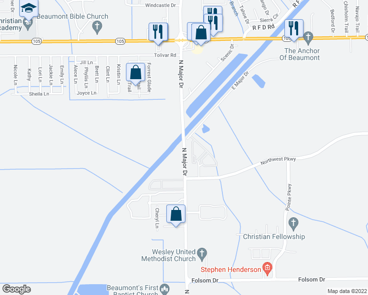 map of restaurants, bars, coffee shops, grocery stores, and more near 4573 North Major Drive in Beaumont