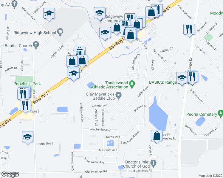 map of restaurants, bars, coffee shops, grocery stores, and more near 1263 Suffolk Place in Orange Park