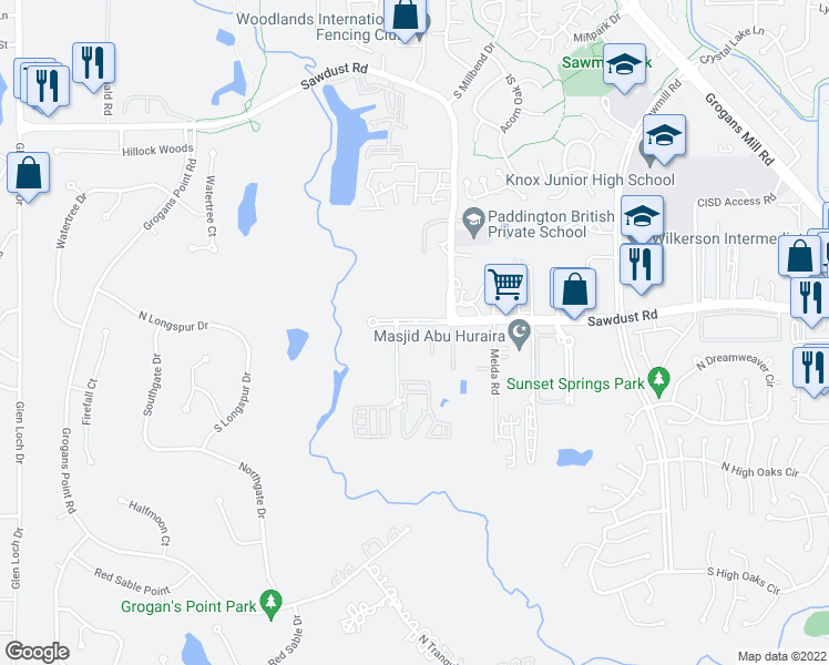 map of restaurants, bars, coffee shops, grocery stores, and more near 1835 Woodland Field Crossing in The Woodlands