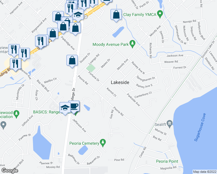 map of restaurants, bars, coffee shops, grocery stores, and more near 2642 Kermit Court in Orange Park