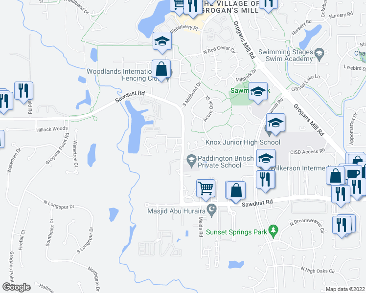 map of restaurants, bars, coffee shops, grocery stores, and more near 2180-2240 Sawdust Road in The Woodlands