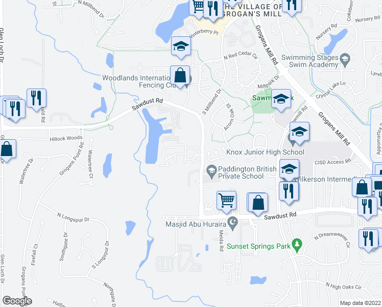 map of restaurants, bars, coffee shops, grocery stores, and more near 2109 Sawdust Road in The Woodlands