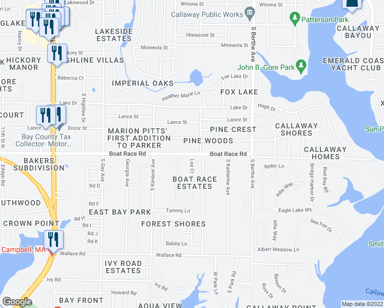 map of restaurants, bars, coffee shops, grocery stores, and more near Boat Race Road in Panama City