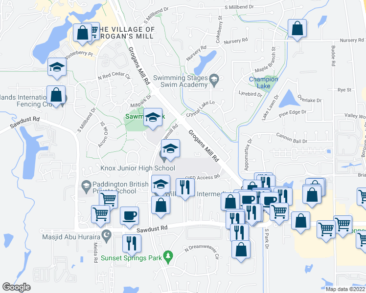 map of restaurants, bars, coffee shops, grocery stores, and more near 12000 Sawmill Road in The Woodlands