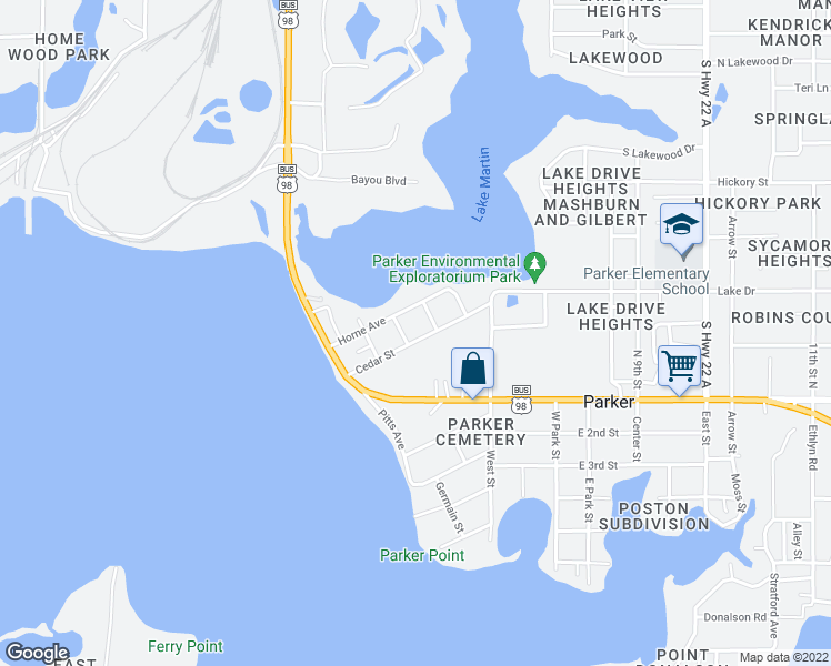 map of restaurants, bars, coffee shops, grocery stores, and more near 4551 Cedar Street in Panama City