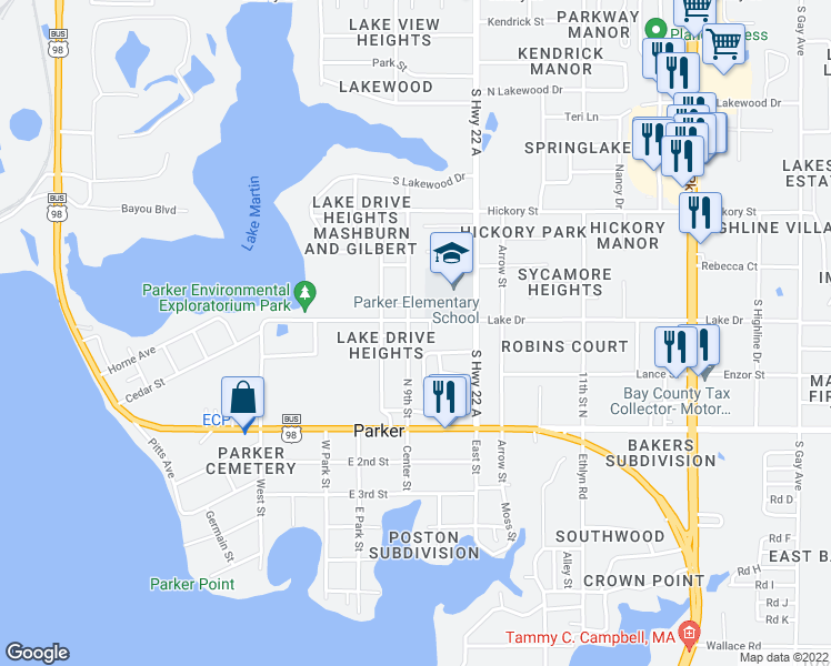 map of restaurants, bars, coffee shops, grocery stores, and more near 707 North 9th Street in Panama City