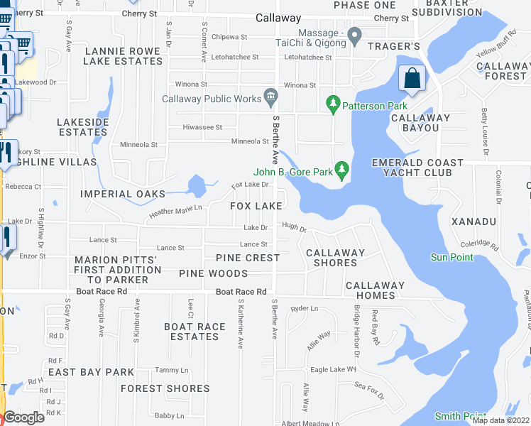 map of restaurants, bars, coffee shops, grocery stores, and more near 706 J J Drive in Panama City