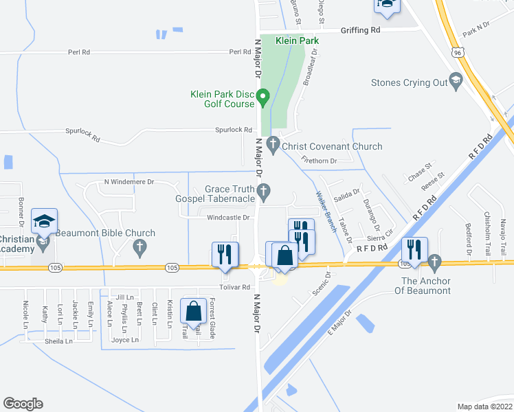 map of restaurants, bars, coffee shops, grocery stores, and more near 6105 North Major Drive in Beaumont