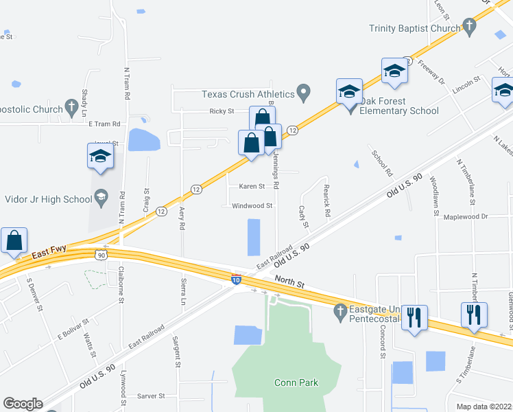 map of restaurants, bars, coffee shops, grocery stores, and more near Windwood Street in Vidor