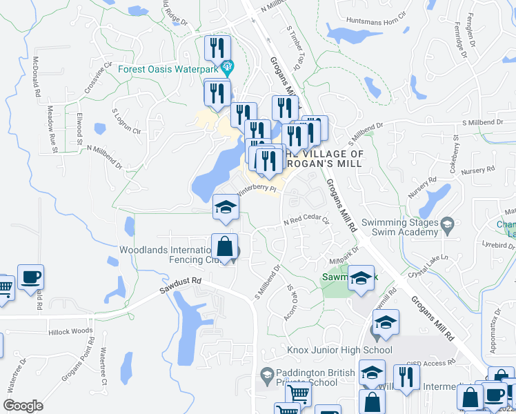 map of restaurants, bars, coffee shops, grocery stores, and more near 2500 South Millbend Drive in The Woodlands