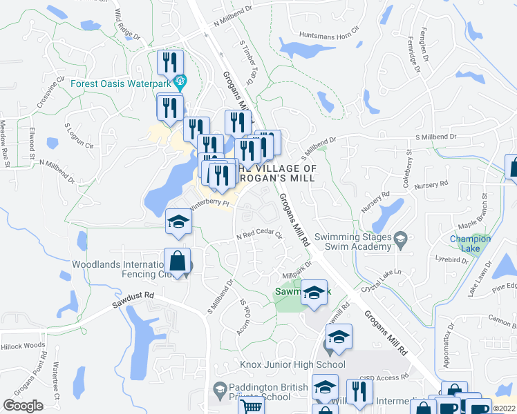 map of restaurants, bars, coffee shops, grocery stores, and more near 2301 South Millbend Drive in The Woodlands