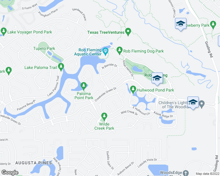 map of restaurants, bars, coffee shops, grocery stores, and more near 2 South Bacopa Drive in Spring
